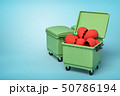 3d rendering of two green trash cans, front can open and full of broken valentine hearts, on light 50786194