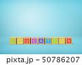 3d rendering of alphabet toy blocks on blue background. 50786207