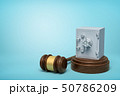 3d rendering of metal bank safe on round wooden block and brown wooden gavel on blue background 50786209