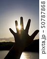 夕日に手をかざす子供手元 シルエット 50787868