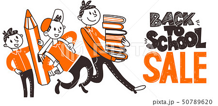 Back to school Sale doodle banner 50789620