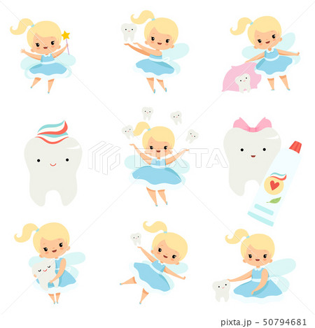Cute Little Tooth Fairy and Healthy Baby Teeth Set, Lovely Blonde Fairy Girl Cartoon Character in 50794681