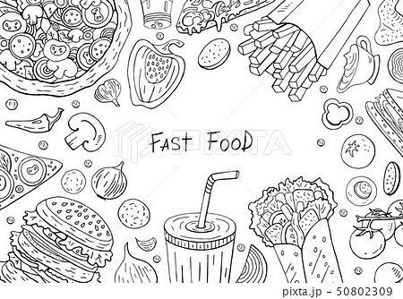 Big different black and white  fast food collection with space for text  50802309