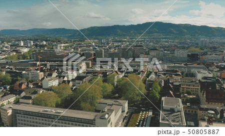 Aerial view of Zurich cityscape and railroad, Switzerland 50805887