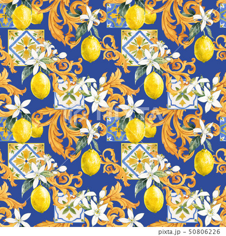 Watercolor lemon seamless pattern 50806226