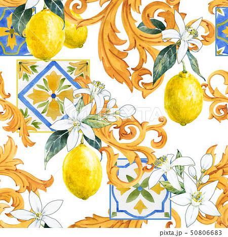 Watercolor lemon seamless pattern 50806683