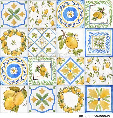Watercolor ornament square pattern 50806689