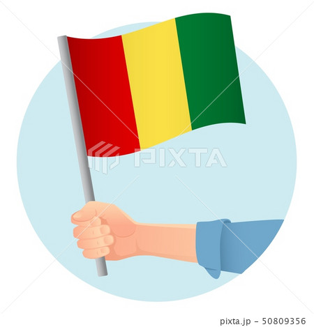 Guinea flag in hand icon 50809356