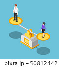 Isometric businessman and businesswoman equal on a 50812442