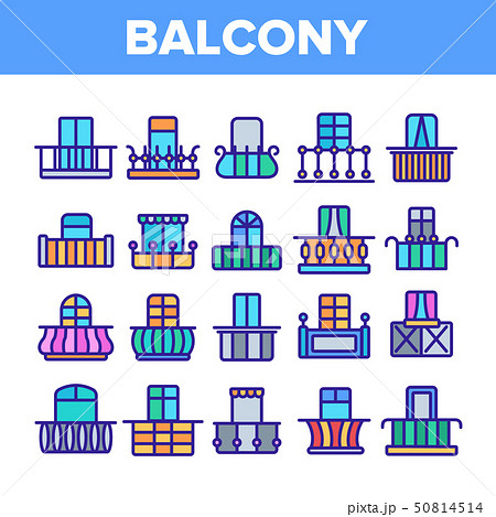 House Balcony Forms Linear Vector Icons Set 50814514