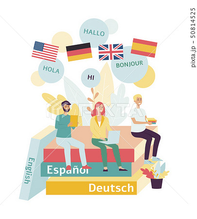 Training and webinars or language lessons online flat vector isolated on white. 50814525