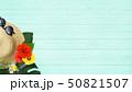背景-海-夏-ビーチ-ウッドデッキ-モンステラ-プルメリア-ハイビスカス-麦わら帽子-サングラス 50821507