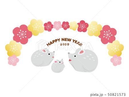 年賀状素材_ねずみ親子 50821573