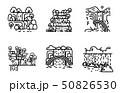 Waterfall icon set. Flat line illustration. 50826530
