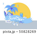 Summer time banner with typographic on ribbon and 50828269