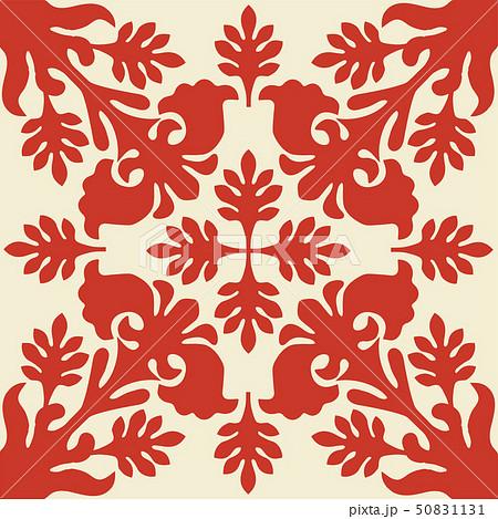 ハワイアンキルトのパターン(赤)植物|背景イラスト テクスチャ|夏のイメージ ベクターデータ 50831131
