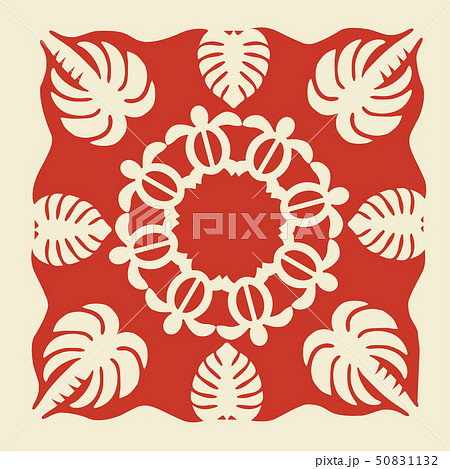 ハワイアンキルトのパターン(赤)タートル|背景イラスト テクスチャ|夏のイメージ ベクターデータ 50831132