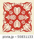 ハワイアンキルトのパターン(赤)植物|背景イラスト テクスチャ|夏のイメージ ベクターデータ 50831133