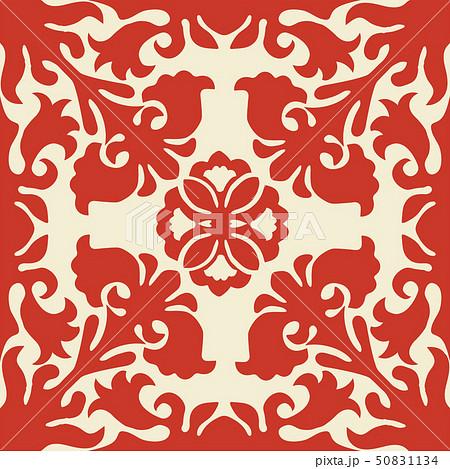 ハワイアンキルトのパターン(赤)植物|背景イラスト テクスチャ|夏のイメージ ベクターデータ 50831134