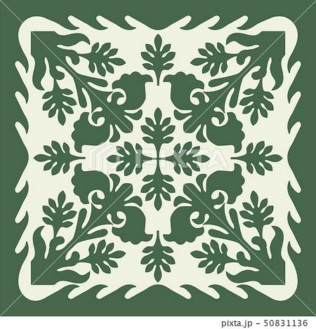 ハワイアンキルトのパターン(緑)植物 背景イラスト テクスチャ 夏のイメージ ベクターデータ 50831136