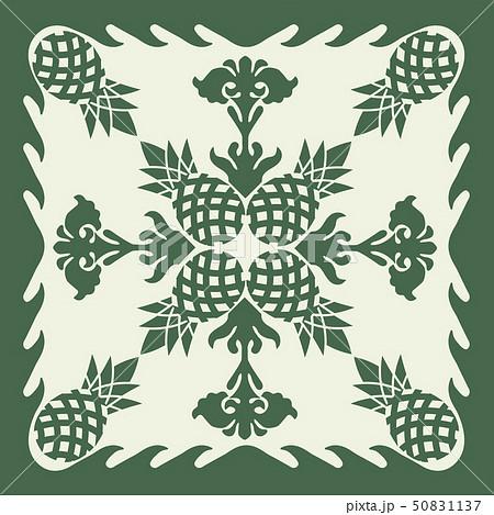 ハワイアンキルトのパターン(緑)パイナップル 背景イラスト テクスチャ 夏のイメージ ベクターデータ 50831137