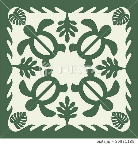 ハワイアンキルトのパターン(緑)タートル柄|背景イラスト テクスチャ|夏のイメージ ベクターデータ 50831139