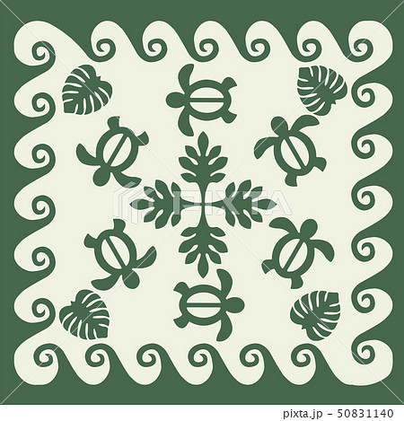 ハワイアンキルトのパターン(緑)タートル柄|背景イラスト テクスチャ|夏のイメージ ベクターデータ 50831140