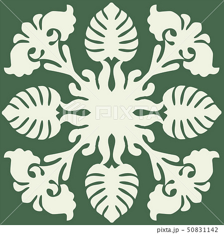 ハワイアンキルトのパターン(緑)モンステラ柄 背景イラスト テクスチャ 夏のイメージ ベクターデータ 50831142