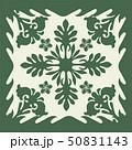 ハワイアンキルトのパターン(緑)植物|背景イラスト テクスチャ|夏のイメージ ベクターデータ 50831143