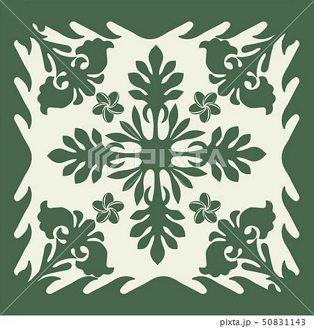 ハワイアンキルトのパターン(緑)植物 背景イラスト テクスチャ 夏のイメージ ベクターデータ 50831143