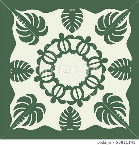 ハワイアンキルトのパターン(緑)亀椰子|背景イラスト テクスチャ|夏のイメージ ベクターデータ 50831145