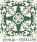 ハワイアンキルトのパターン(緑)植物|背景イラスト テクスチャ|夏のイメージ ベクターデータ 50831146