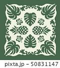 ハワイアンキルトのパターン(緑)椰子の木|背景イラスト テクスチャ|夏のイメージ ベクターデータ 50831147