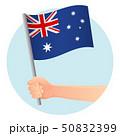 Australia flag in hand 50832399