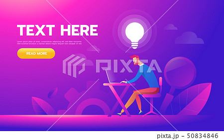 Happy businessman working at his desk and creating idea bulbs. Business idea concept 50834846