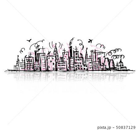 Industrial cityscape, sketch drawing for your design 50837129