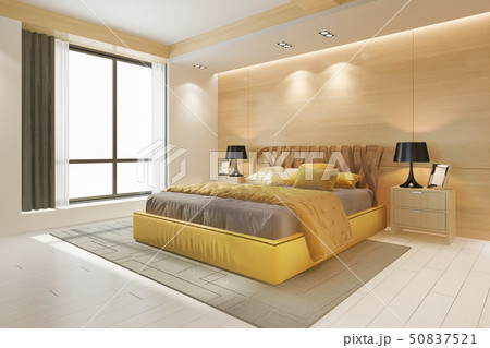 luxury yellow bedroom suite in minimal hotel 50837521