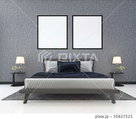 blue classic bed in classic bedroom with plant 50837525
