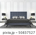 blue classic bed in classic bedroom with plant 50837527