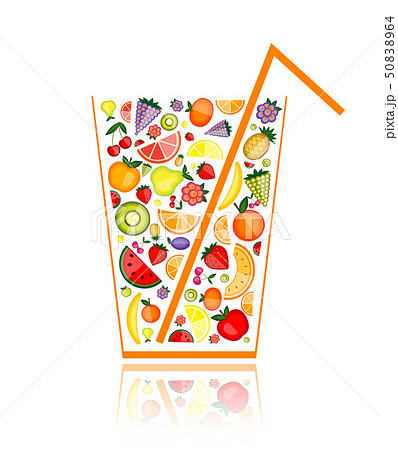 Mix of fruit juice in glass for your design 50838964
