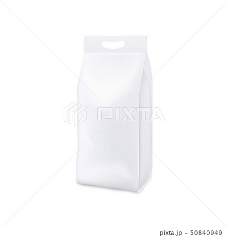 White plastic bag of laundry detergent - blank realistic mockup for product branding and packaging 50840949