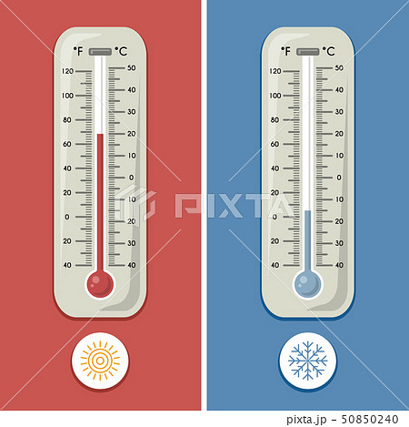 Thermometer of celsius and fahrenheit. Meteorology and different temperature cold and warm. Vector 50850240