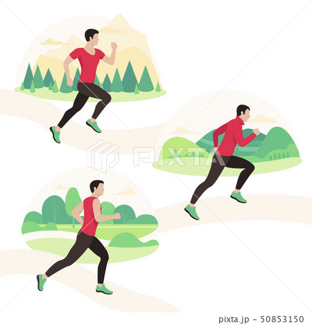 Jogging and running people. Runners in motion. Running men sports. 50853150