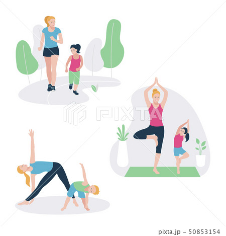 Set with mother and kid doing sport exercises. Family sports activity 50853154