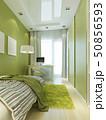 ベッド 机 緑色のイラスト 50856593