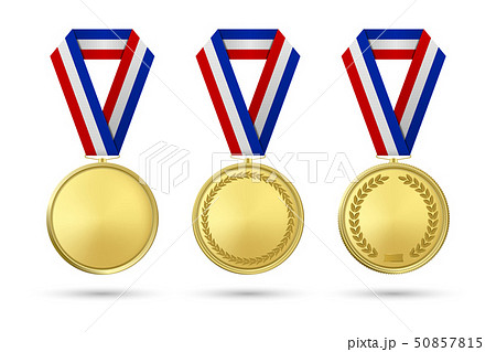 Vector 3d Realistic Gold Award Medal Icon Set with Color Ribbons Closeup Isolated on White 50857815