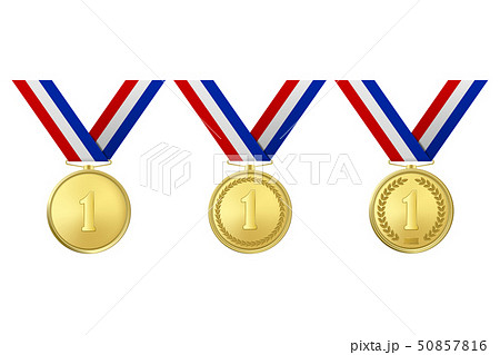Vector 3d Realistic Gold Award Medal Icon Set with Color Ribbons Closeup Isolated on White 50857816