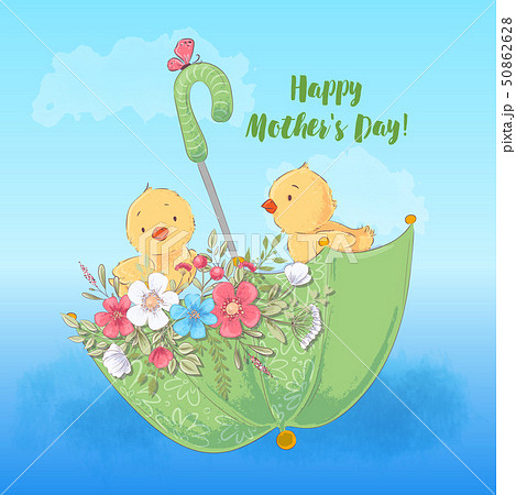 Illustration postcard or fetish for a children's room - cute chickens in an umbrella with flowers 50862628