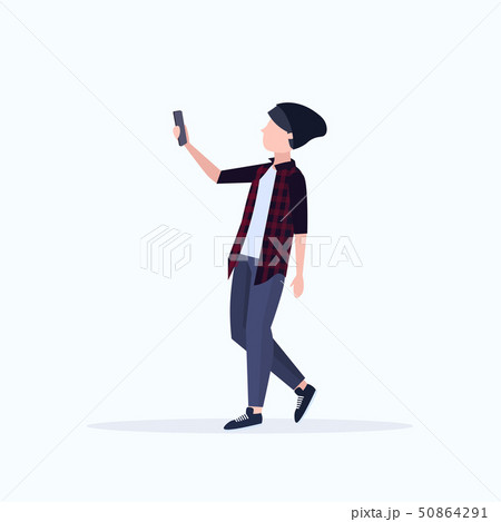 man taking selfie photo on smartphone camera casual male cartoon character in hat posing on white 50864291