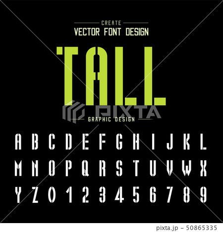 Tech Font and alphabet vector, Technology Tall 50865335